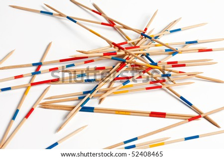 a game of pick-up sticks is ready to play