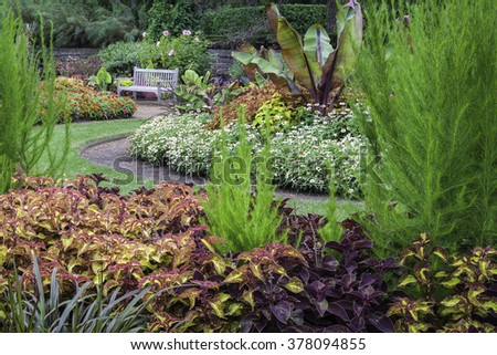Garden Bench Invites Visitors Cantigny Park Stock Photo (100% Legal ...