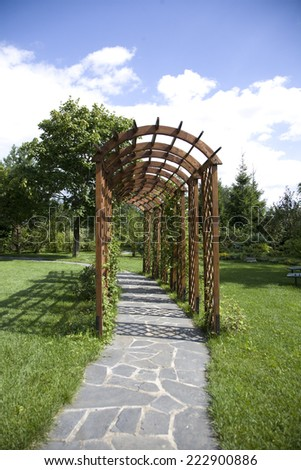 a garden tunnel in country Park near Moscow - stock photo