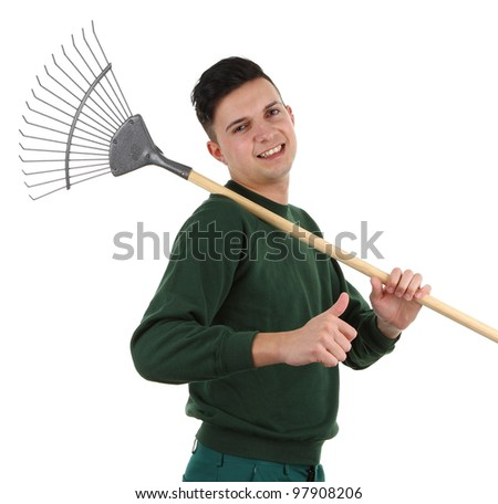 A gardener with a rake, isolated on white - stock photo
