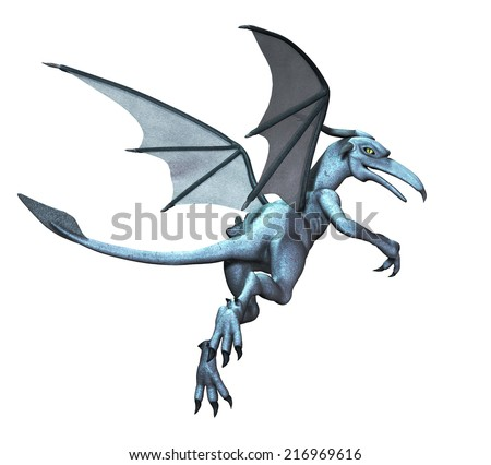 A gargoyle comes to life and takes off flying - 3d render. - stock photo