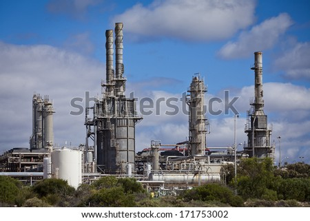 A gas fractionation plant operated by Santos Ltd in Port Bonython, South Australia - stock photo