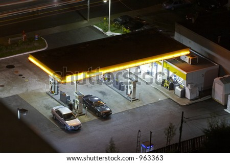 A gas station at night. Shell - stock photo