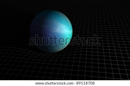 A generic planet on a grid surface to illustrate its gravitational field. - stock photo