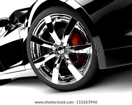 A generic sport elegant black car illuminated - stock photo