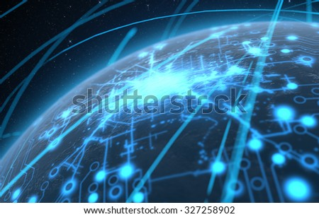 A generic world planet with illuminated city lights and a glowing data circuit network surrounded by orbiting light trails on a dark space background