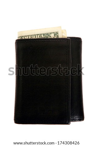 A genuine black wallet with real us currency poking out from the top. The Perfect Money wallet image for all your Money, Wallet image needs. Isolated on white with room for your text.