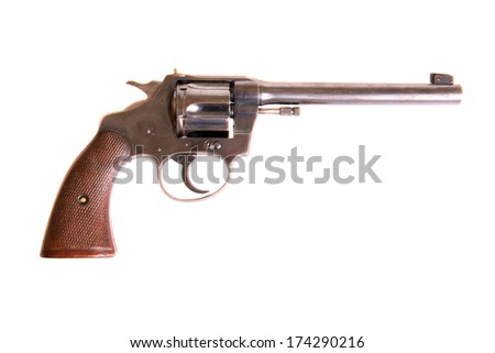 A genuine .22 caliber Colt Police Target Pistol with .22 caliber shells. The Perfect image for all  your .22 pistol gun needs. Isolated on white with room for your text. - stock photo