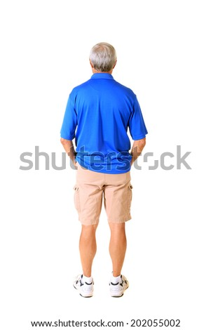 A genuine Male Human Being standing with his back towards you the viewer, isolated on white with room for your text - stock photo