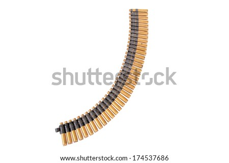 A genuine used military Machine gun ammunition belt.  isolated on white with room for your text - stock photo