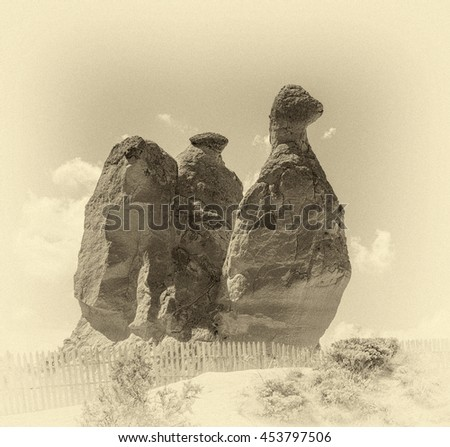 A geological formation consisting of volcanic tuff. Cappadocia in Central Anatolia is a UNESCO World Heritage Site since 1985, Turkey (stylized retro) - stock photo