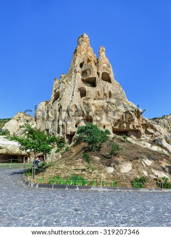 A geological formation consisting of volcanic tuff with cave dwelling. Cave monastery in Goreme Open Air Museum. Cappadocia in Central Anatolia is a UNESCO World Heritage Site since 1985, Turkey