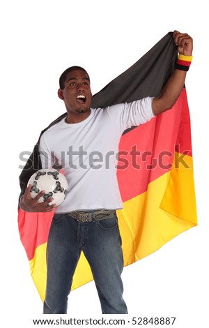 A german soccer supporter cheering. All on white background. - stock photo