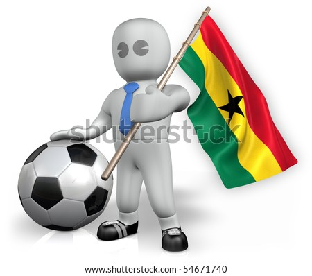 A Ghana football fan with a ball and a flag - stock photo
