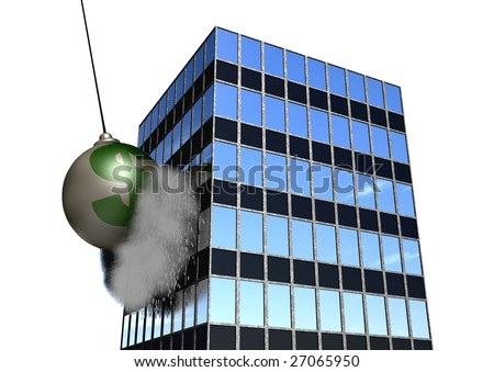 A giant wrecking ball destroying an office building!