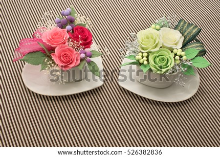 A Gift of Preservrd Flower and Clay Flower Arrangement, Pink and Green Roses