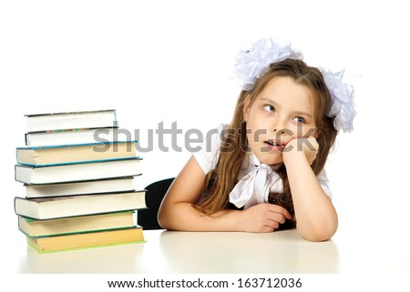 a girl and a books, studio, isolated, white background.