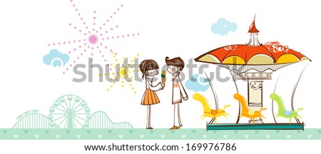 A girl and a boy in front of a carousel and a Ferris wheel. - stock photo