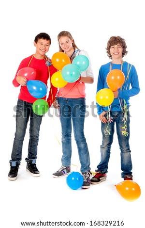 a girl and two boys with balloons on a white background
