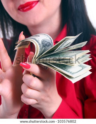 a girl counts the money isolated white background - stock photo