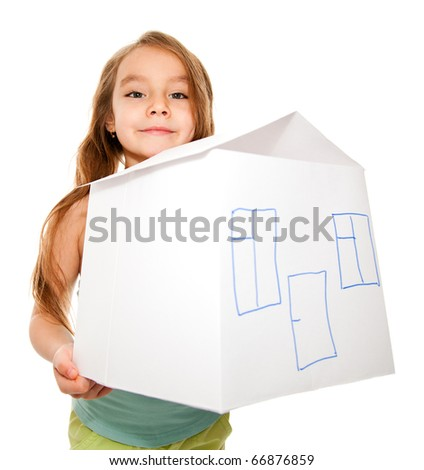 A girl dreams of a new home - stock photo
