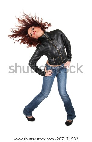 a girl flipping her hair on an isolated white background