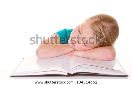 A girl getting tired of reading isolated white background