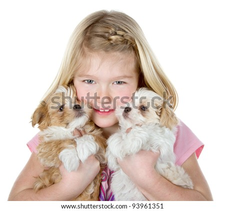 a girl holding two small fluffy puppies close to her face, isolated on a white background - stock photo