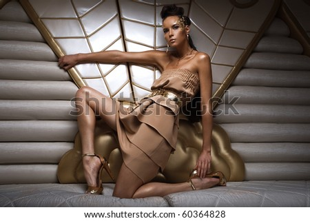 a girl in a gold dress - stock photo