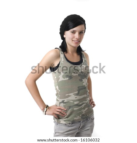 A girl in an army shirt smiles - stock photo