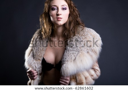 a girl in fur jacket - stock photo