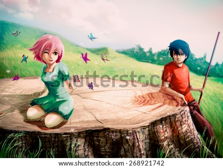 A girl is playing with butterflies on a giant stump with her boyfriend looking - stock photo