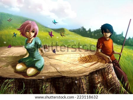 A girl is playing with butterflies on a giant stump with her boyfriend looking. It's a fantasy concept. - stock photo