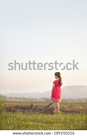 A girl looks out over the fields to the mountains in the distance.  She has her back to the camera.