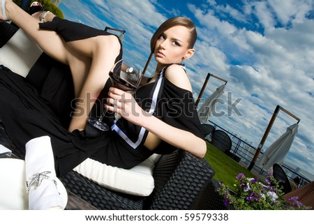 a girl on rest - stock photo