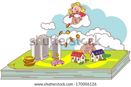 A girl pouring coins over a city.