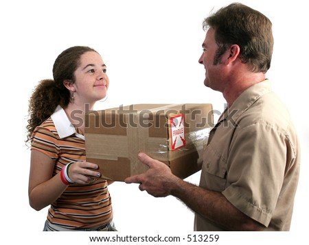 a girl receiving a package in the mail - stock photo