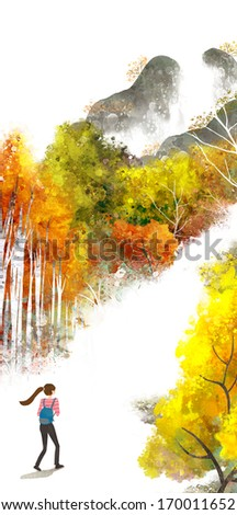A girl with a backpack walking down a path between yellow and orange trees. - stock photo