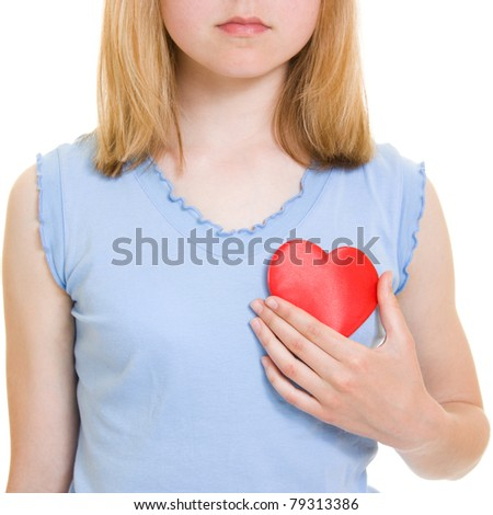 A girl with a heart on a white background. - stock photo