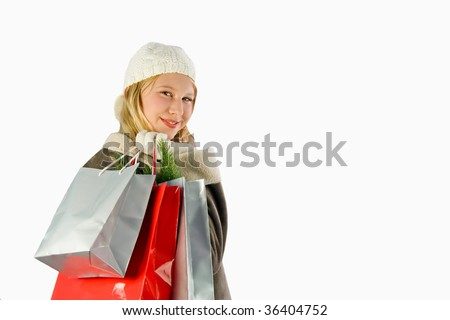 a girl with decorative bags - stock photo
