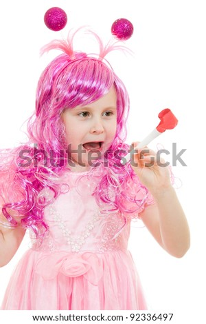 A girl with pink hair in a pink dress blowing a whistle on a white background.