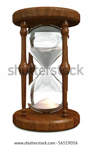 A glass and wooden hourglass isolated on white - stock photo