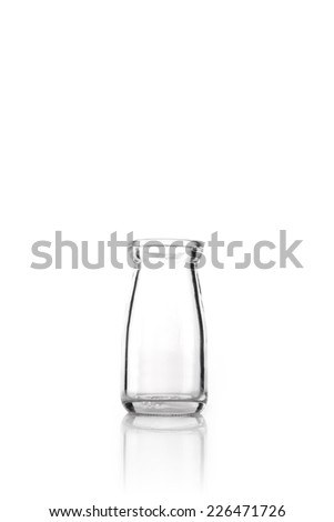 A glass bottles(container) reflective bottom isolated white.  - stock photo