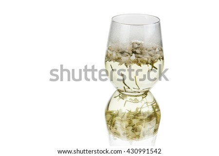 a glass cup of ready made jasmine tea
