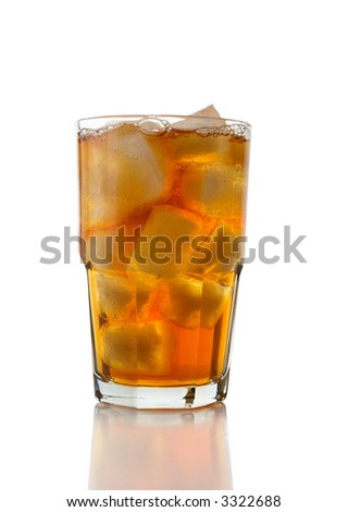 A glass full of Ice Tea isolated on a white background.