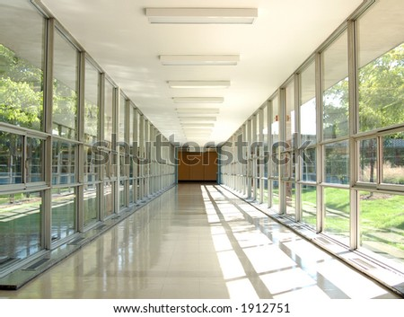 a glass hallway in daytime