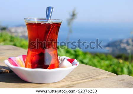 a glass of black (red) tea - stock photo