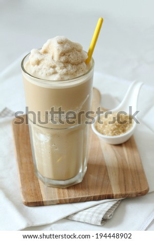 a glass of coffee and caramel smoothie - stock photo