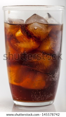 A glass of cola against a white background