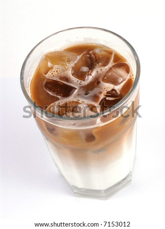 A glass of cold Ice coffee with milk / ice Latte.